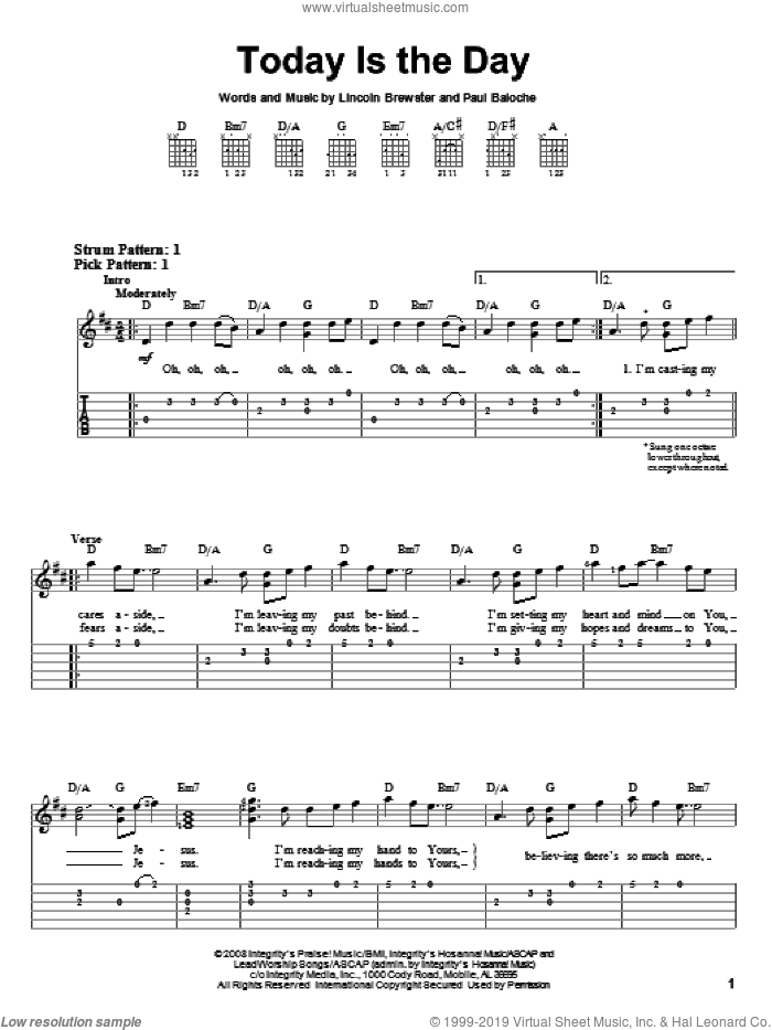 Today Is The Day sheet music for guitar solo (easy tablature) by Lincoln Brewster and Paul Baloche, easy guitar (easy tablature)