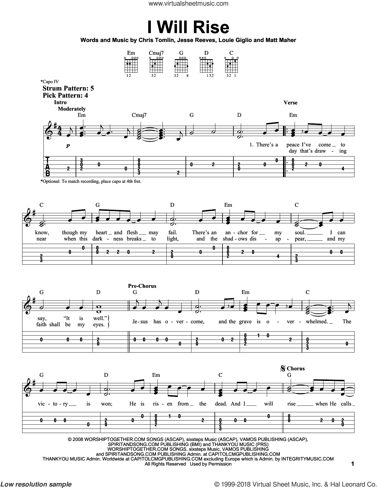 I Will Rise sheet music for guitar solo (easy tablature) by Chris Tomlin, Jesse Reeves and Matt Maher. Score Image Preview.
