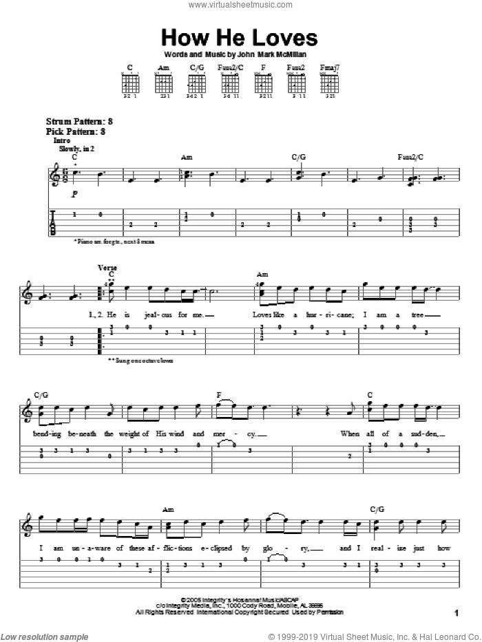 How He Loves sheet music for guitar solo (easy tablature) by David Crowder Band and John Mark McMillan, easy guitar (easy tablature)