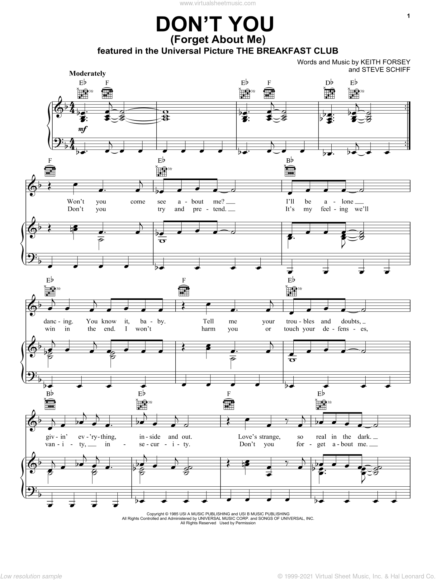 Don't You (Forget About Me) sheet music for voice, piano or guitar by Simple Minds, Keith Forsey and Steve Schiff, intermediate skill level