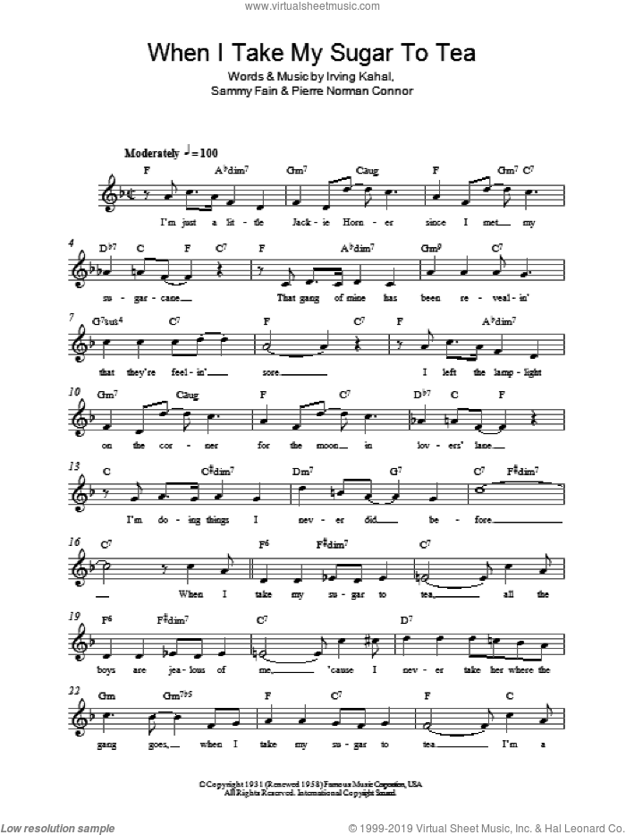 When I Take My Sugar To Tea sheet music for voice and other instruments (fake book) by Sammy Fain, Irving Kahal and Pierre Norman Connor, intermediate skill level