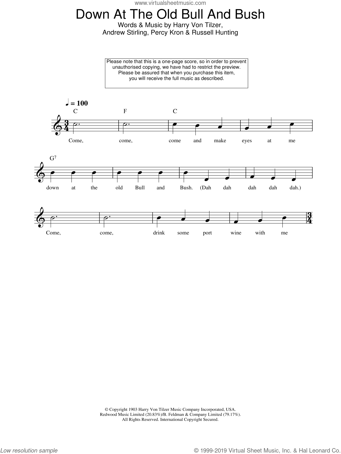 Down At The Old Bull And Bush sheet music for voice and other instruments (fake book) by Harry Von Tilzer, Andrew Stirling, Percy Kron and Russell Hunting, intermediate skill level