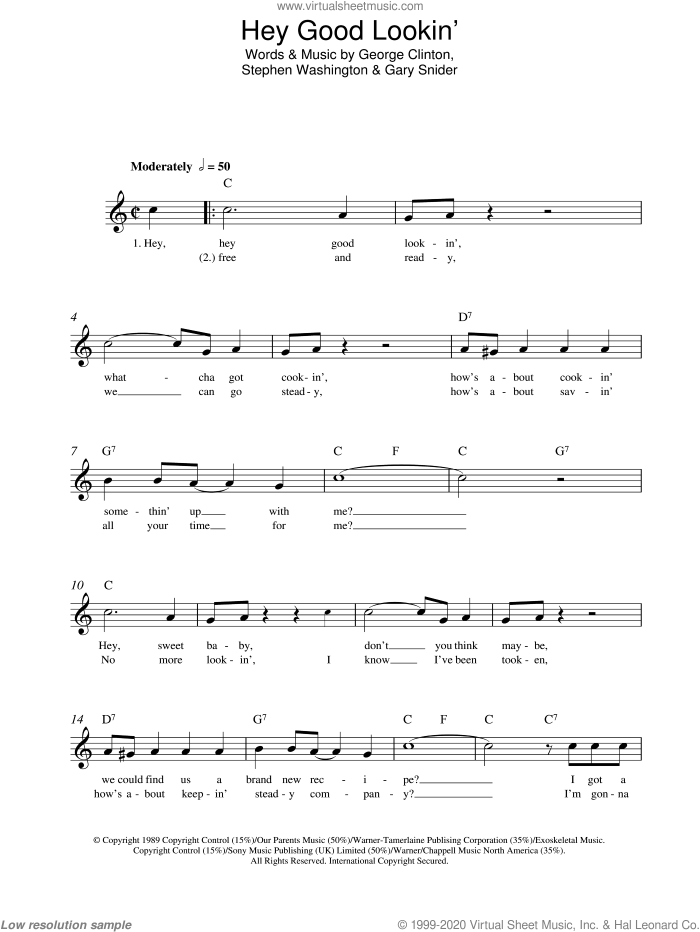 Hey, Good Lookin' sheet music for voice and other instruments (fake book) by Hank Williams, Gary Snider, George Clinton and Stephen Washington, intermediate skill level