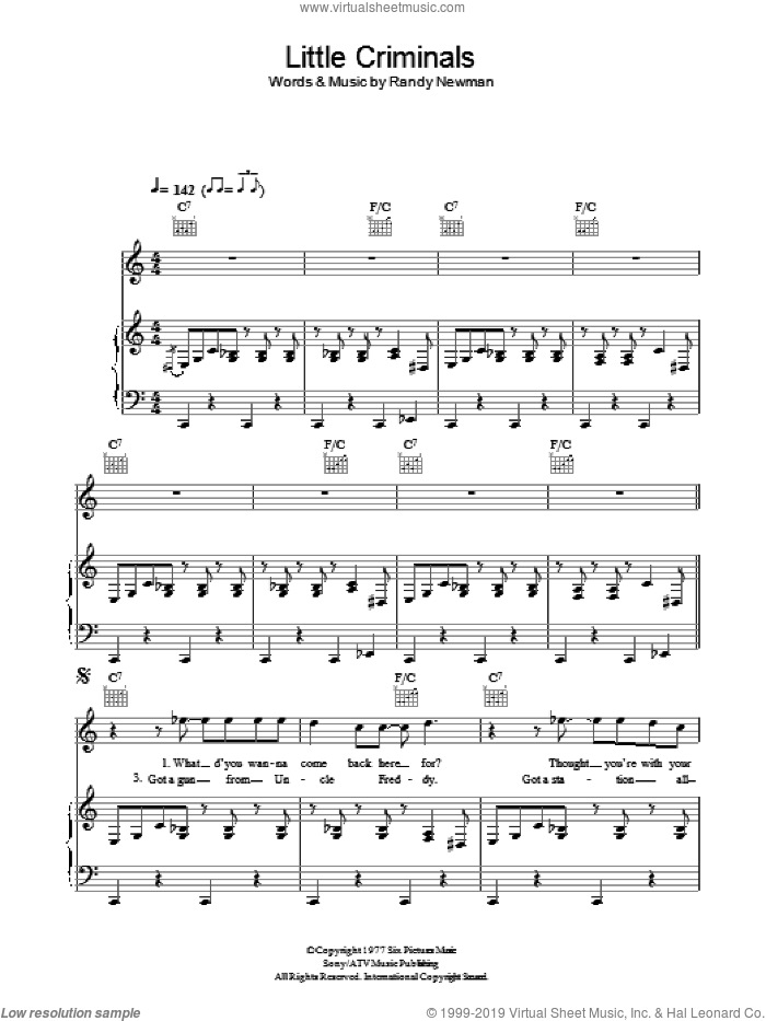 Little Criminals sheet music for voice, piano or guitar by Randy Newman. Score Image Preview.