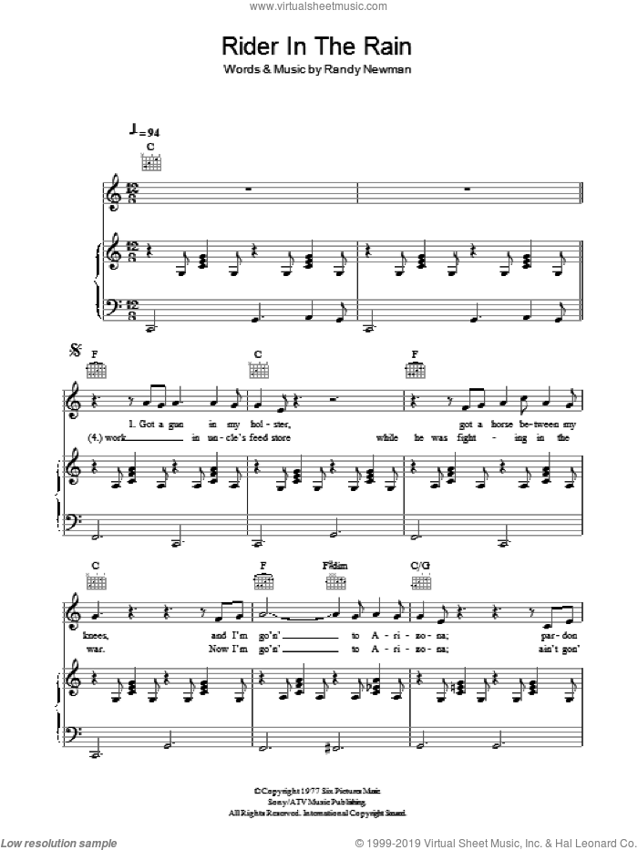 Rider In The Rain sheet music for voice, piano or guitar by Randy Newman, intermediate skill level