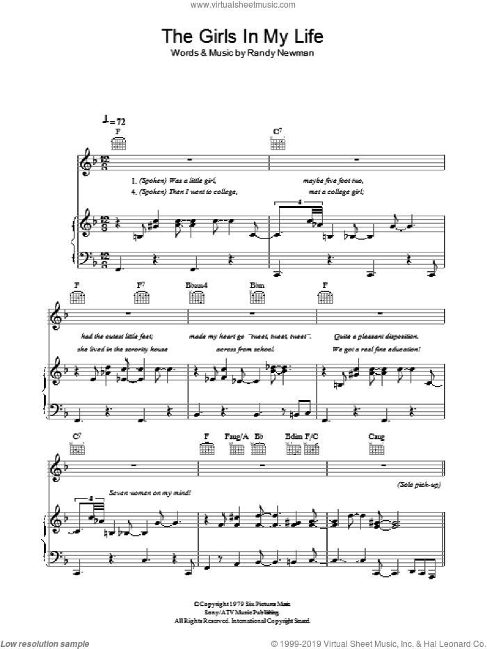 The Girls In My Life sheet music for voice, piano or guitar by Randy Newman. Score Image Preview.