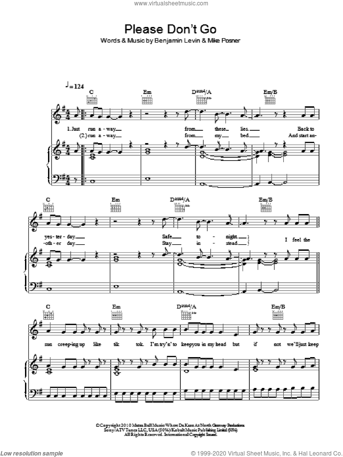 Please Don't Go sheet music for voice, piano or guitar by Mike Posner and Benjamin Levin, intermediate skill level