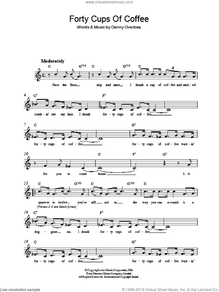 Forty Cups Of Coffee sheet music for voice and other instruments (fake book) by Danny Overbea, intermediate voice. Score Image Preview.