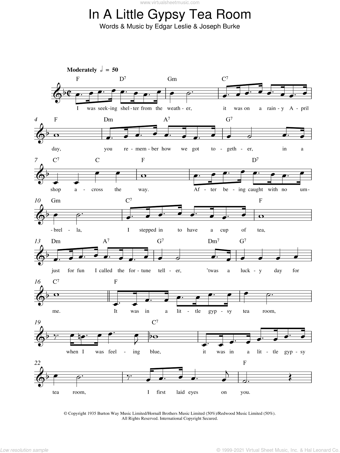 In A Little Gypsy Tea Room sheet music for voice and other instruments (fake book) by Edgar Leslie and Joseph Burke, intermediate skill level