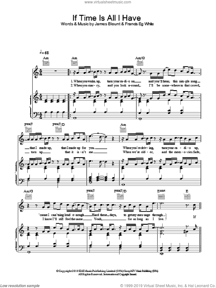 If Time Is All I Have sheet music for voice, piano or guitar by Francis White and James Blunt