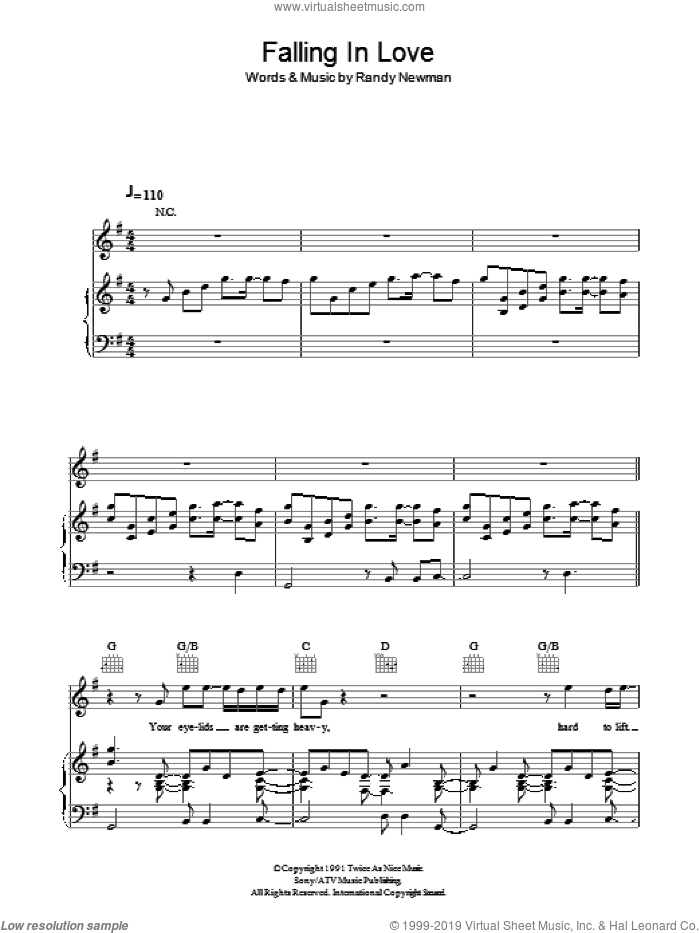 Falling In Love sheet music for voice, piano or guitar by Randy Newman, intermediate skill level