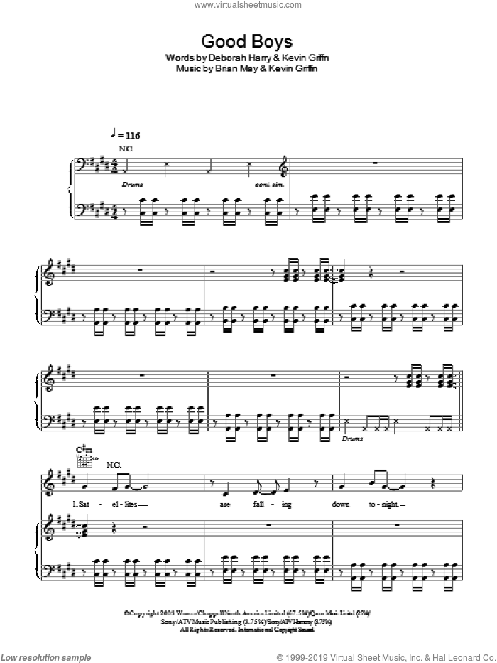 Good Boys sheet music for voice, piano or guitar by Blondie, intermediate voice, piano or guitar. Score Image Preview.