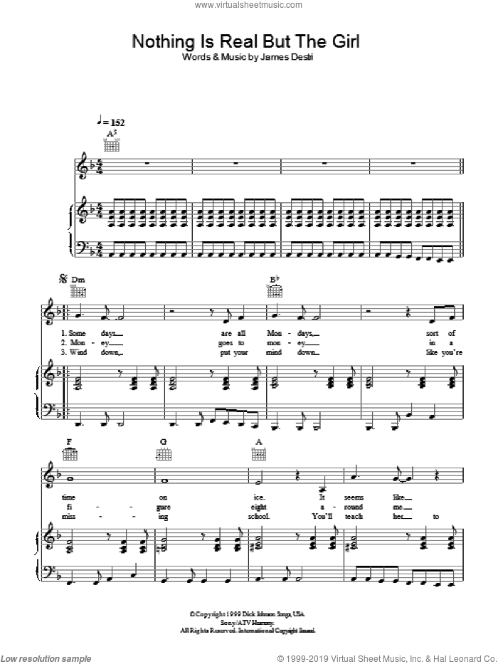 Nothing Is Real But The Girl sheet music for voice, piano or guitar by Jimmy Destri and Blondie. Score Image Preview.