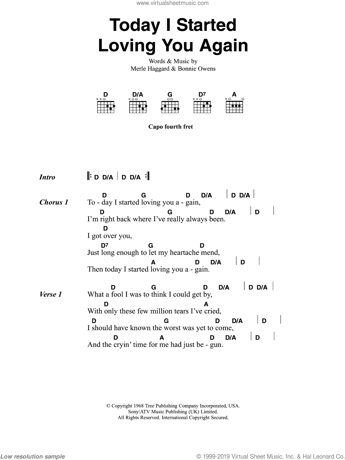 Today I Started Loving You Again sheet music for guitar (chords, lyrics, melody) by Bonnie Owens