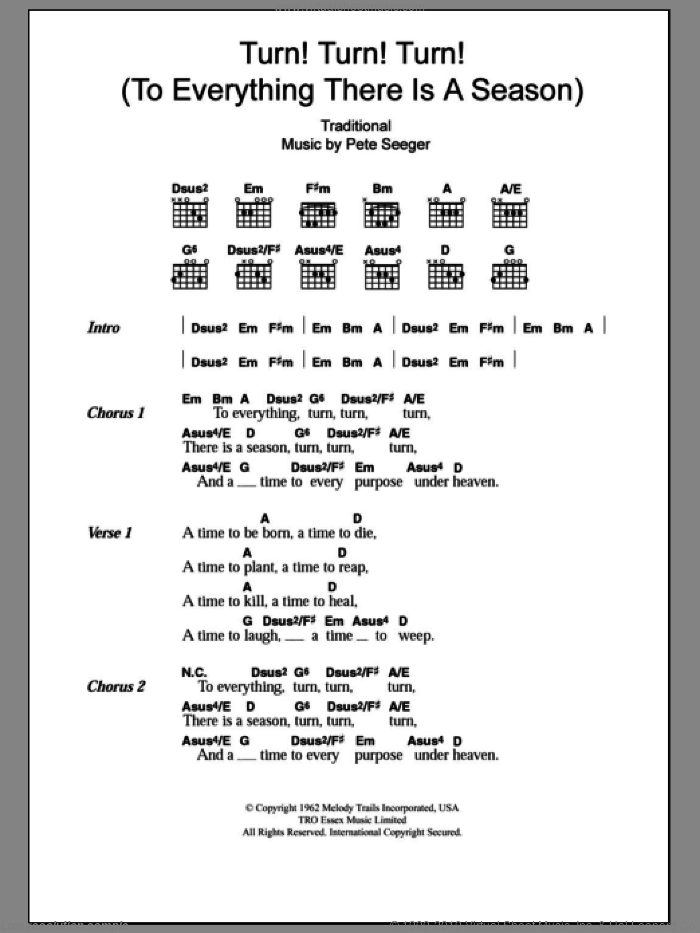 Turn! Turn! Turn! (To Everything There Is A Season) sheet music for guitar (chords) by The Byrds, Miscellaneous and Pete Seeger, intermediate. Score Image Preview.