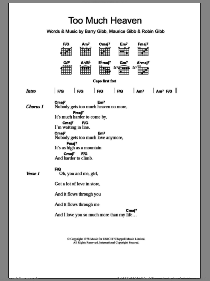 Too Much Heaven sheet music for guitar (chords) by Bee Gees, Barry Gibb, Maurice Gibb and Robin Gibb, intermediate skill level