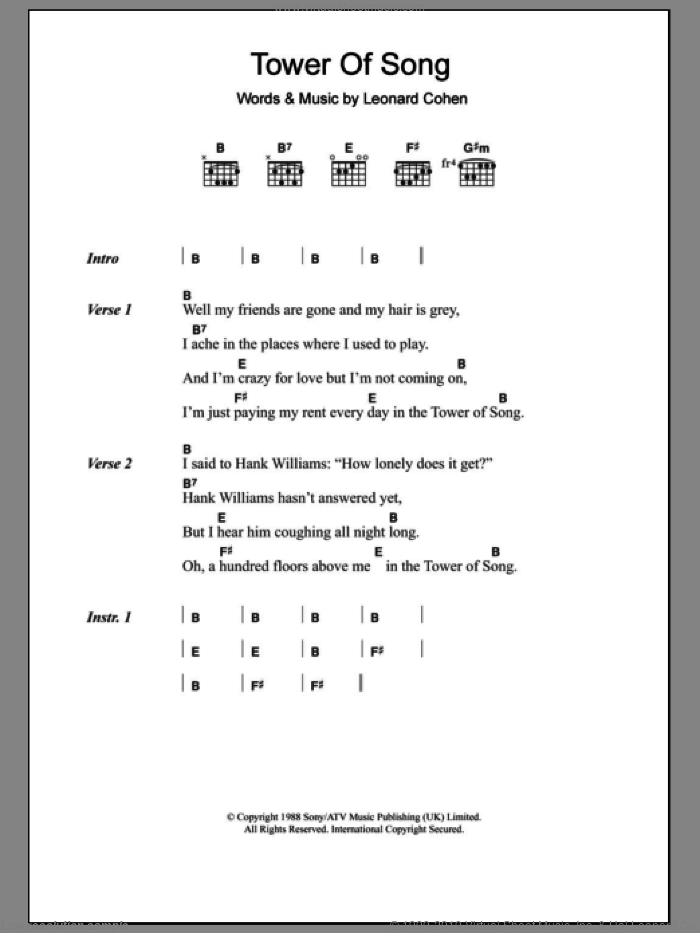 Tower Of Song sheet music for guitar (chords) by Leonard Cohen. Score Image Preview.