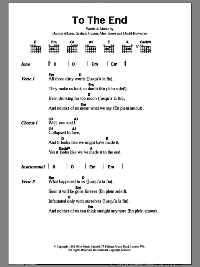 To The End sheet music for guitar (chords) by Graham Coxon, Blur, Alex James and Damon Albarn. Score Image Preview.