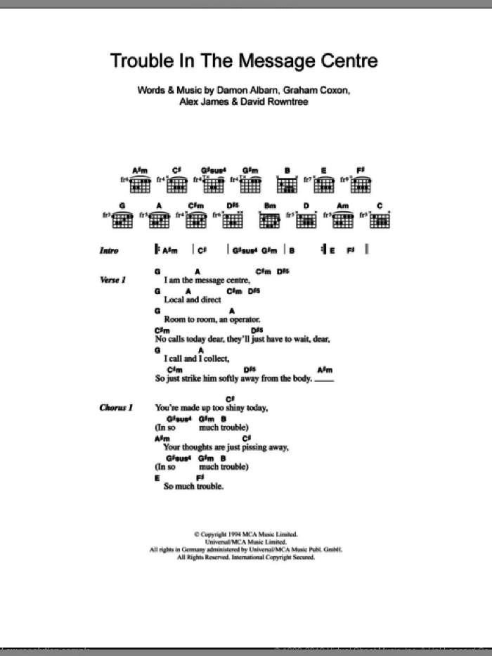 Trouble In The Message Centre sheet music for guitar (chords) by Blur, Alex James and Damon Albarn, intermediate. Score Image Preview.