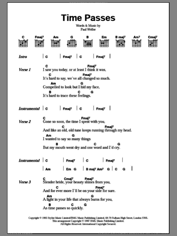 Time Passes sheet music for guitar (chords) by Paul Weller, intermediate guitar (chords). Score Image Preview.