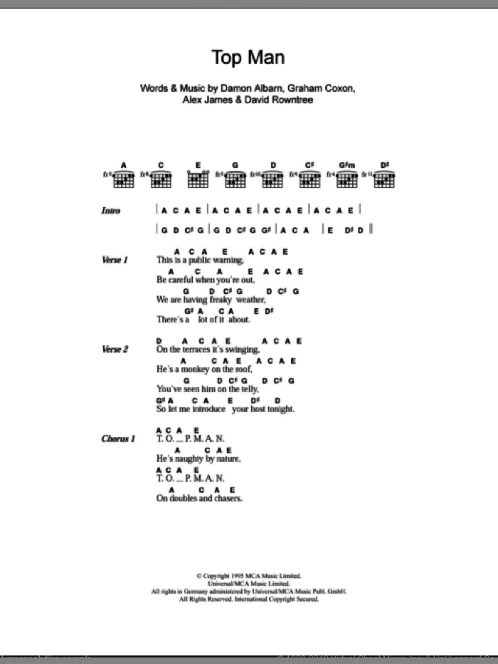 Top Man sheet music for guitar (chords) by Blur, Alex James, Damon Albarn, David Rowntree and Graham Coxon, intermediate skill level