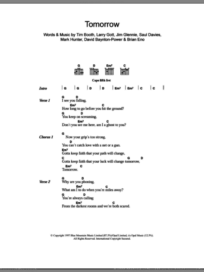 Tomorrow sheet music for guitar (chords) by Tim Booth