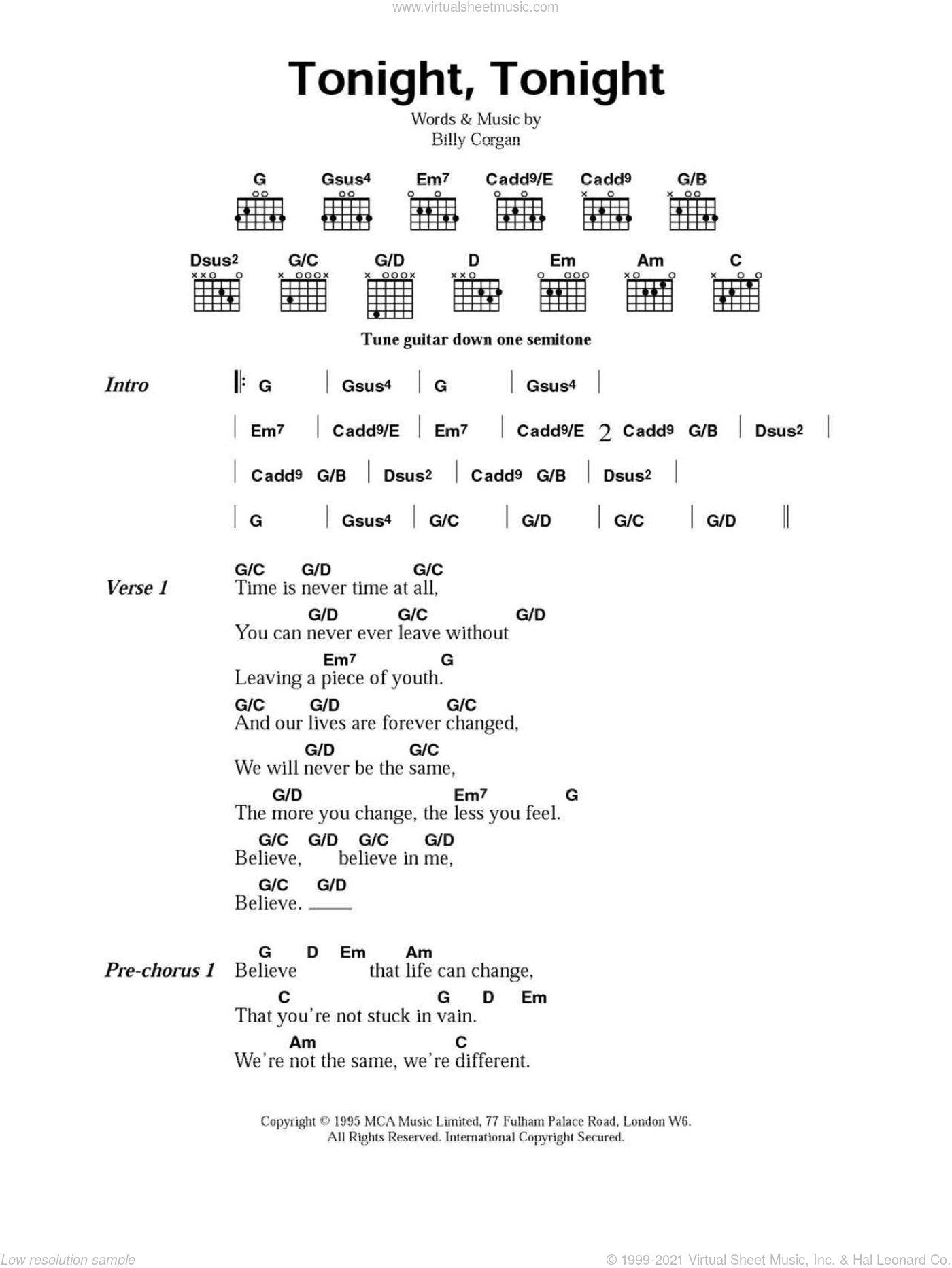Pumpkins - Tonight, Tonight sheet music for guitar (chords) [PDF]