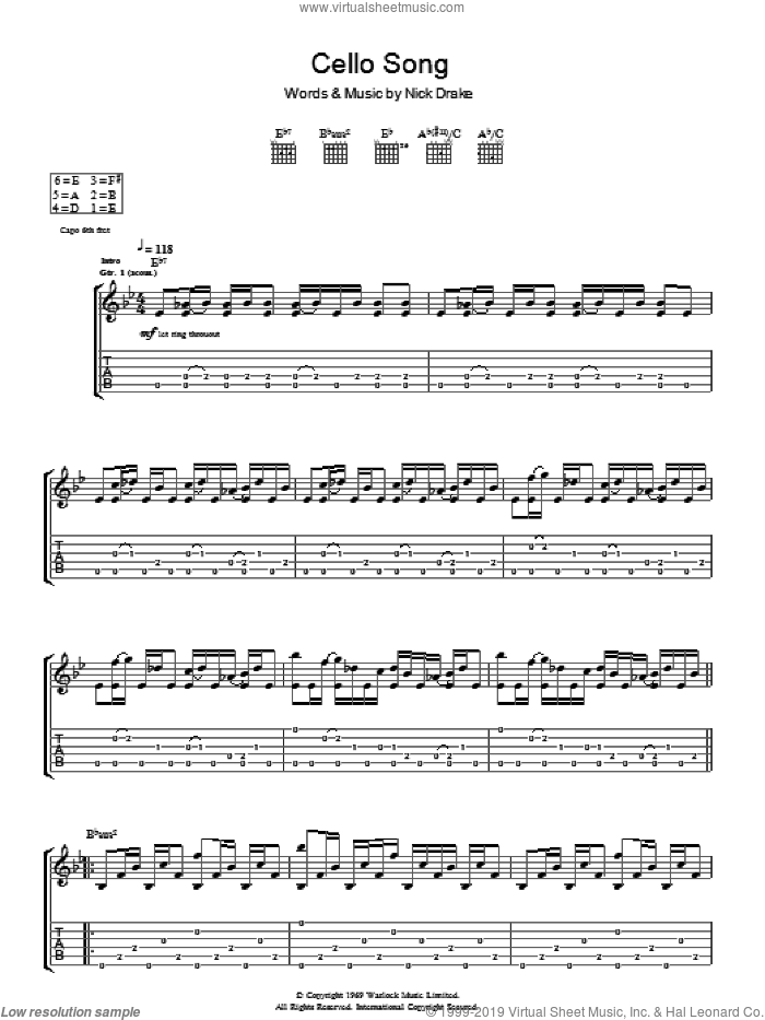Cello Song sheet music for guitar (tablature) by Nick Drake. Score Image Preview.