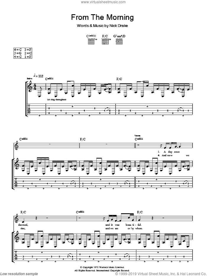 From The Morning sheet music for guitar (tablature) by Nick Drake. Score Image Preview.