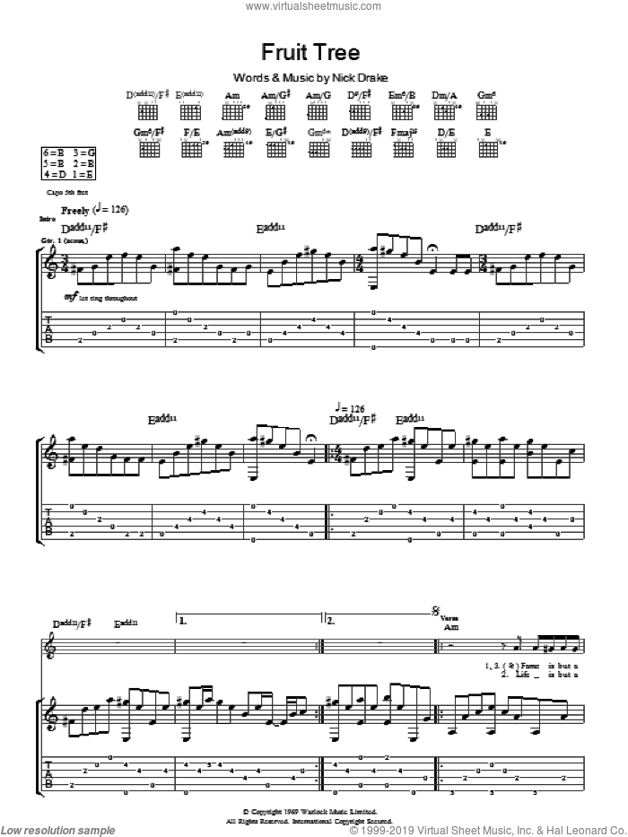 Fruit Tree sheet music for guitar (tablature) by Nick Drake. Score Image Preview.