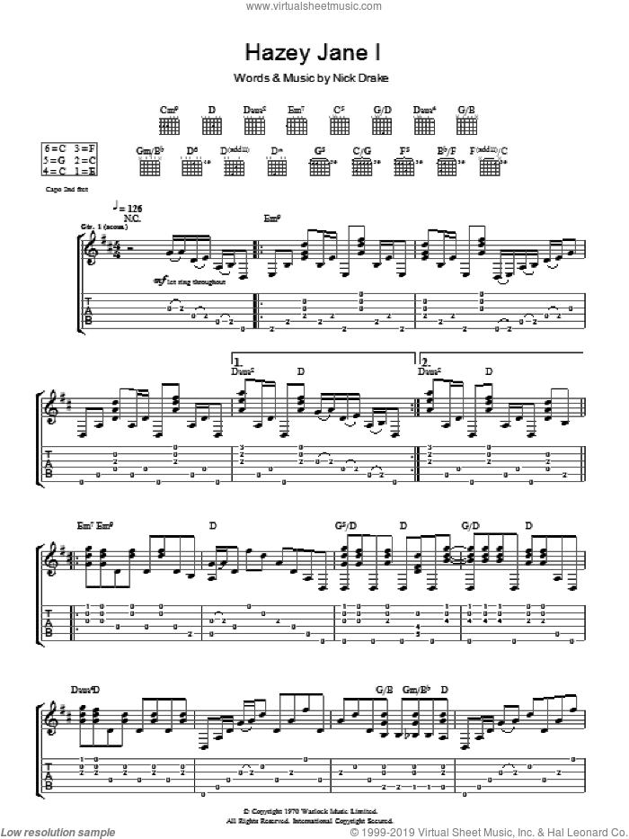 Hazey Jane I sheet music for guitar (tablature) by Nick Drake. Score Image Preview.