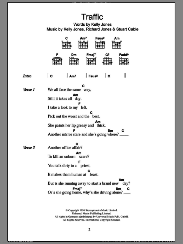 Traffic sheet music for guitar (chords) by Stereophonics, intermediate guitar (chords). Score Image Preview.