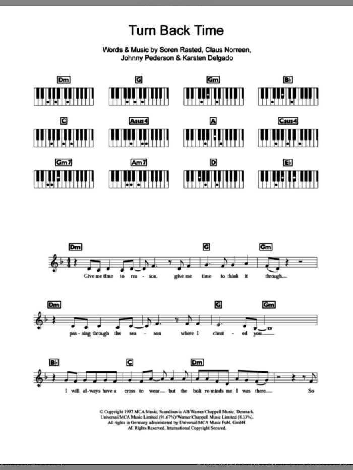 Turn Back Time sheet music for piano solo (chords, lyrics, melody) by Aqua, Claus Norreen, Johnny Pederson, Karsten Delgado and Soren Rasted, intermediate piano (chords, lyrics, melody)