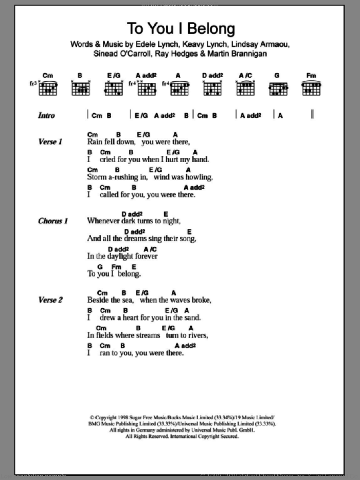 To You I Belong sheet music for guitar (chords) by Sinead O'Carroll. Score Image Preview.