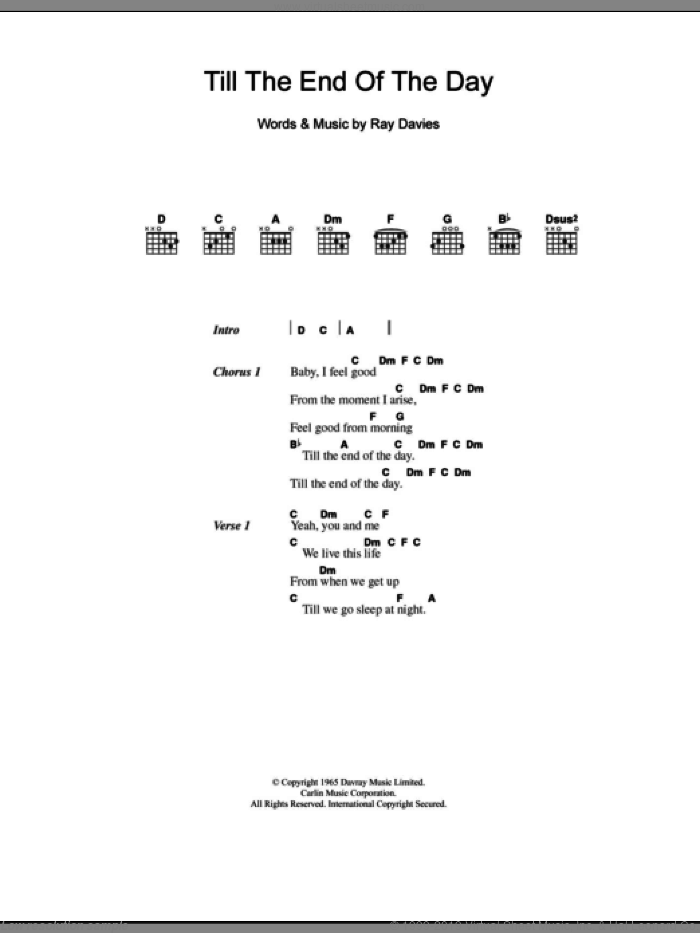 Till The End Of The Day sheet music for guitar (chords) by The Kinks and Ray Davies, intermediate. Score Image Preview.