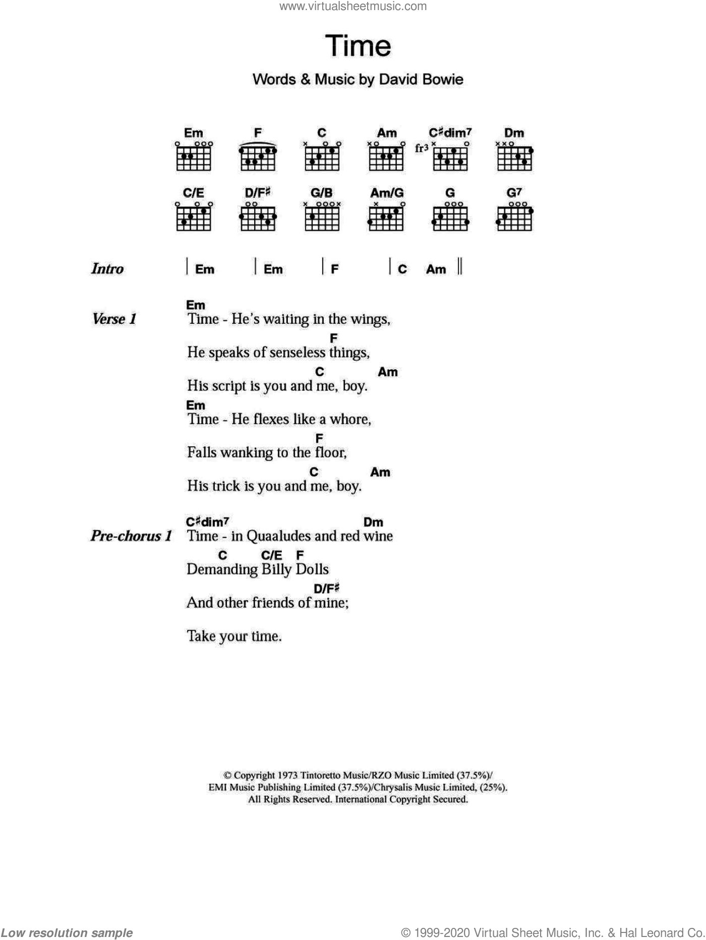 Bowie - Time sheet music for guitar (chords) [PDF]