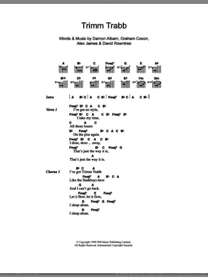 Trimm Trabb sheet music for guitar (chords) by Graham Coxon
