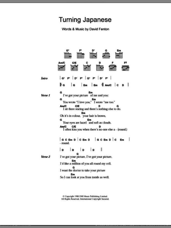Turning Japanese sheet music for guitar (chords) by David Fenton. Score Image Preview.