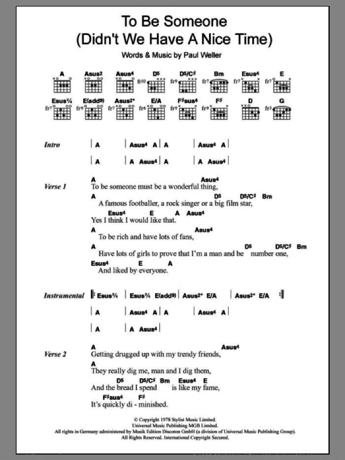 To Be Someone (Didn't We Have A Nice Time) sheet music for guitar (chords) by The Jam and Paul Weller. Score Image Preview.