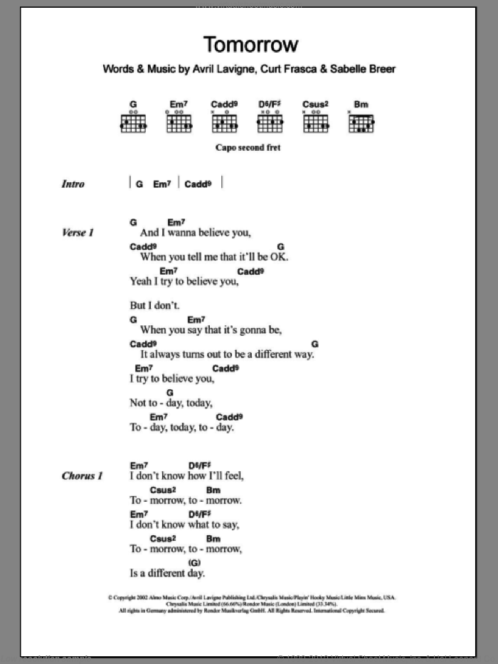Tomorrow sheet music for guitar (chords) by Sabelle Breer and Avril Lavigne. Score Image Preview.