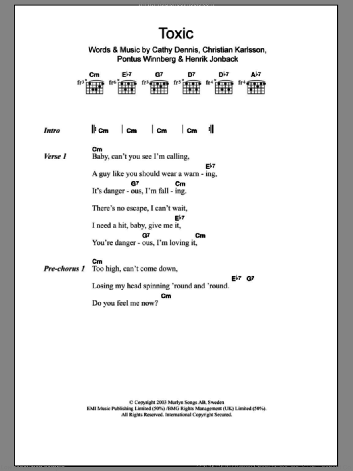 Spears Toxic Sheet Music For Guitar Chords Pdf