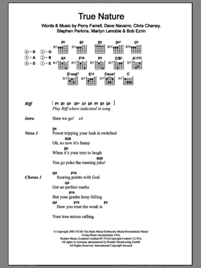 True Nature sheet music for guitar (chords) by Stephen Perkins, Bob Ezrin and Perry Farrell. Score Image Preview.