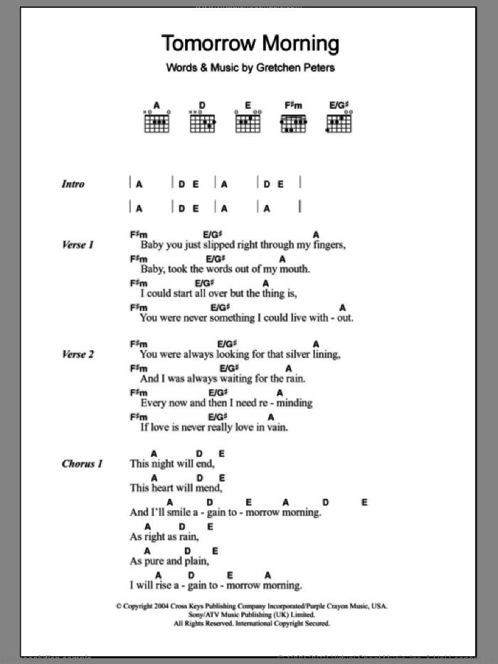 Tomorrow Morning sheet music for guitar (chords) by Gretchen Peters
