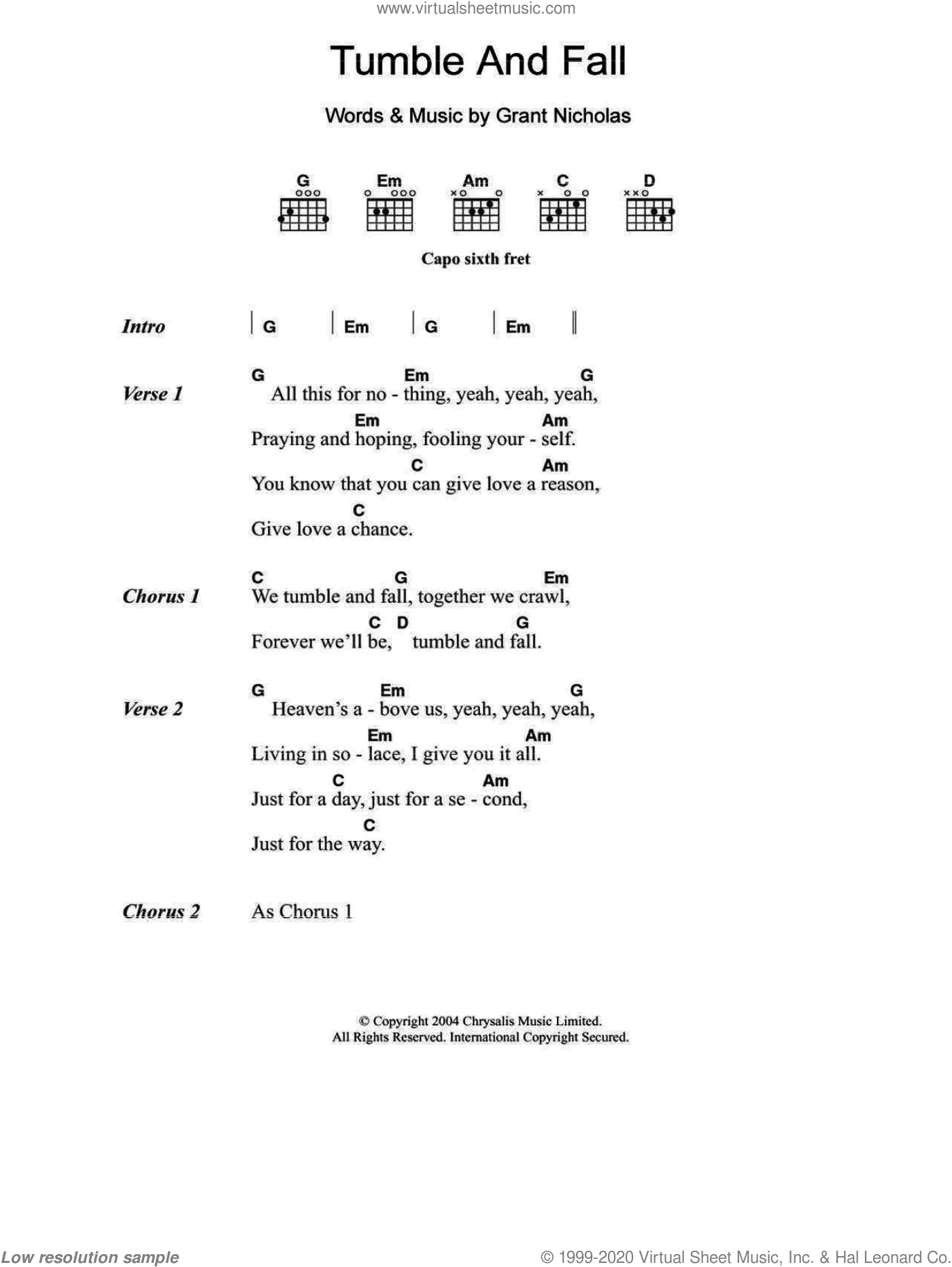 Tumble And Fall sheet music for guitar (chords) by Grant Nicholas and Feeder. Score Image Preview.