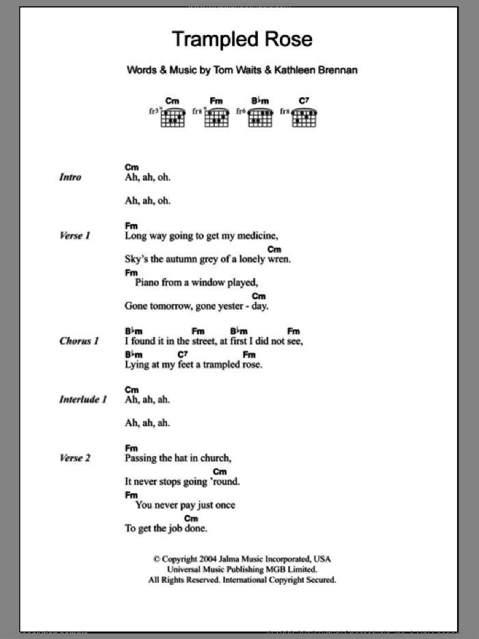 Trampled Rose sheet music for guitar (chords) by Kathleen Brennan and Tom Waits. Score Image Preview.