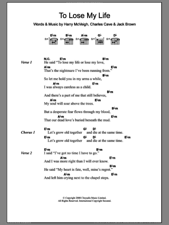 To Lose My Life sheet music for guitar (chords) by Jack Brown