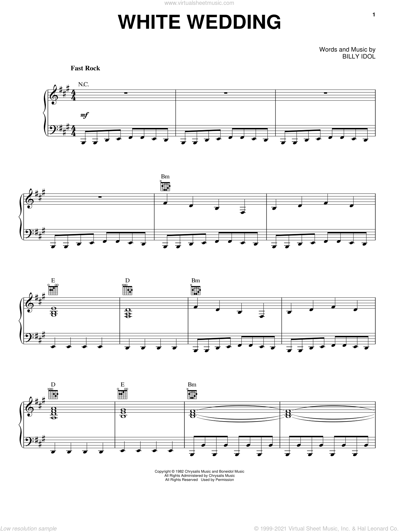 White Wedding sheet music for voice, piano or guitar by Billy Idol. Score Image Preview.