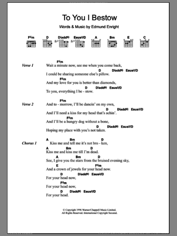 To You I Bestow sheet music for guitar (chords) by Mundy and Edmund Enright, intermediate guitar (chords). Score Image Preview.