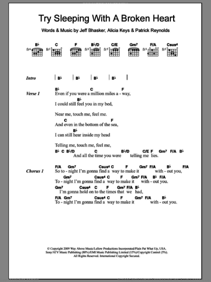 Try Sleeping With A Broken Heart sheet music for guitar (chords) by Alicia Keys, Jeff Bhasker and Patrick Reynolds, intermediate