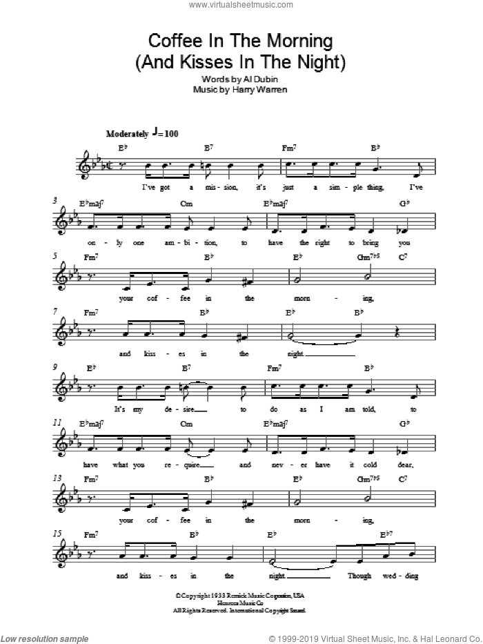 Coffee In The Morning (And Kisses In The Night) sheet music for voice and other instruments (fake book) by Al Dubin and Harry Warren. Score Image Preview.